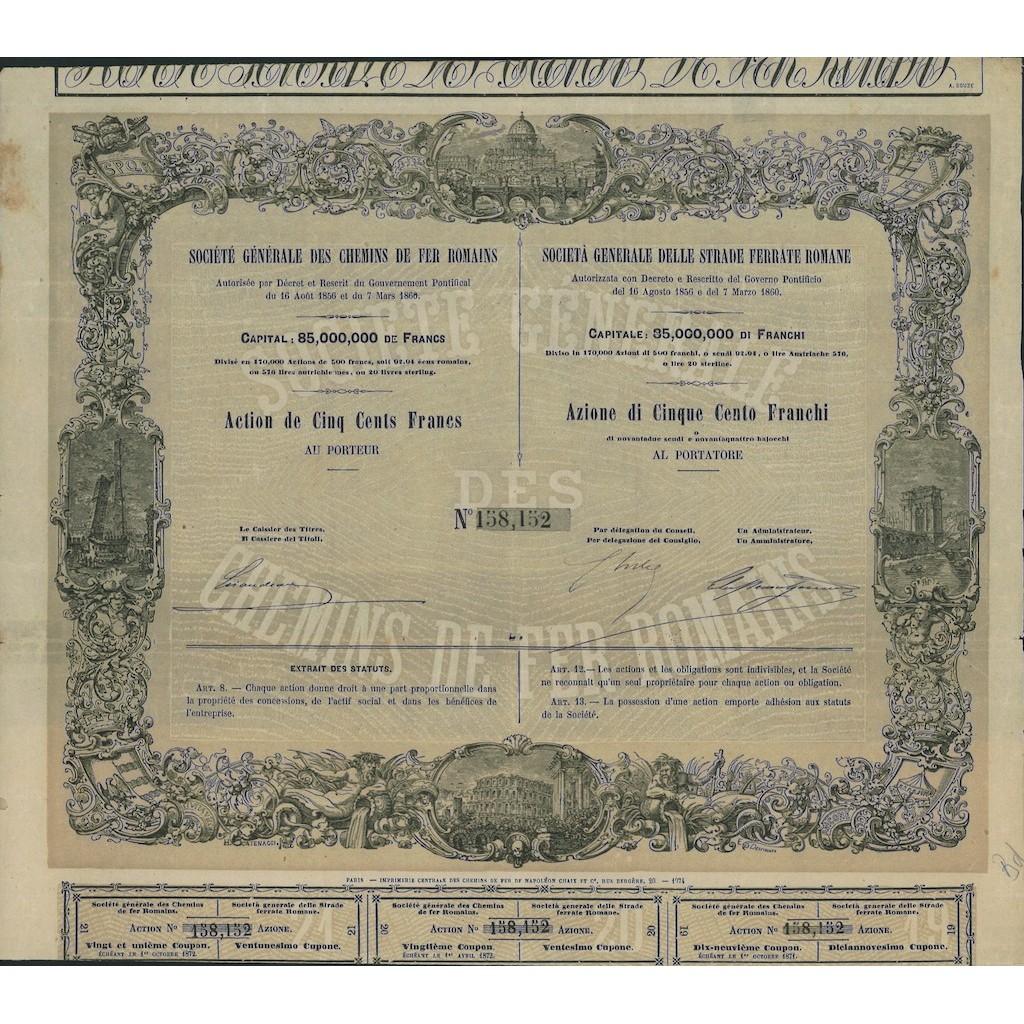 SOCIETA' GENERALE DELLE STRADE FERRATE ROMANE - 1 AZIONE ROMA 1856