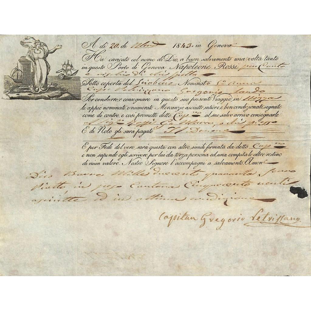 1843 - POLIZZA DI CARICO DA GENOVA A...