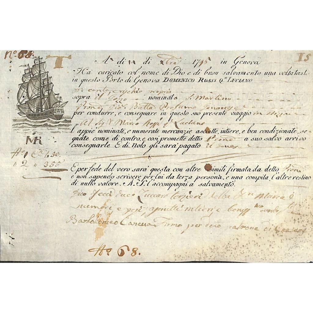 1796 - POLIZZA DI CARICO DA GENOVA A...