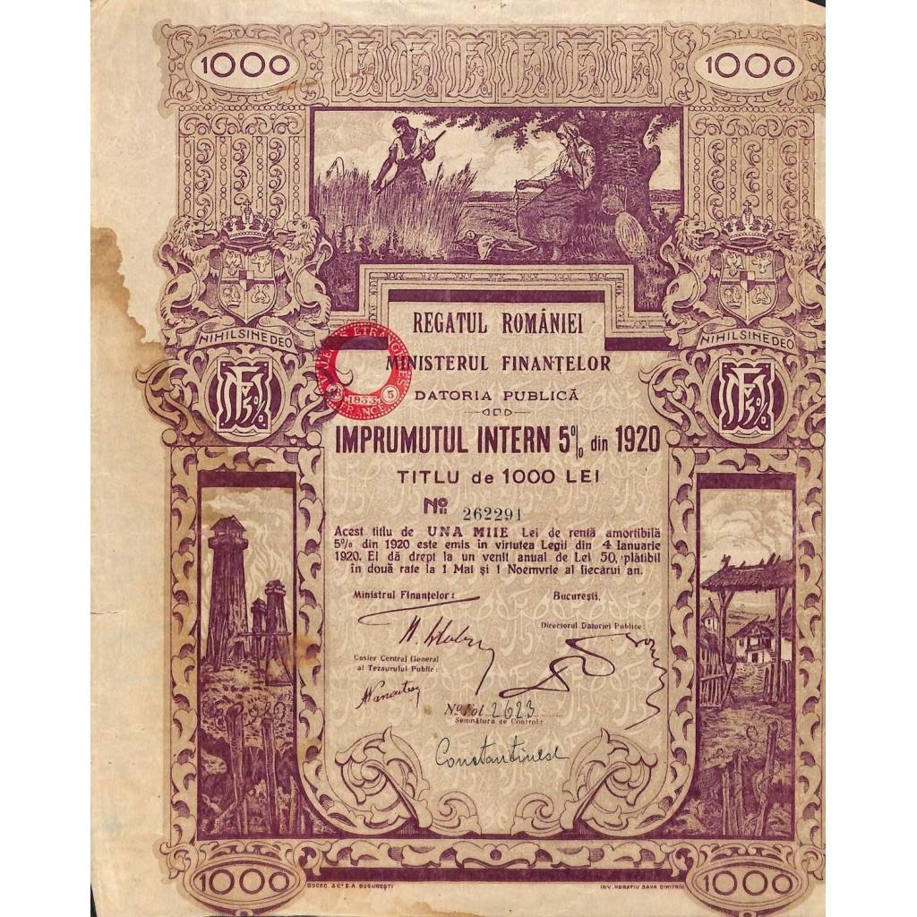 1920 - KINGDOM OF ROUMANIA INTERNAL...