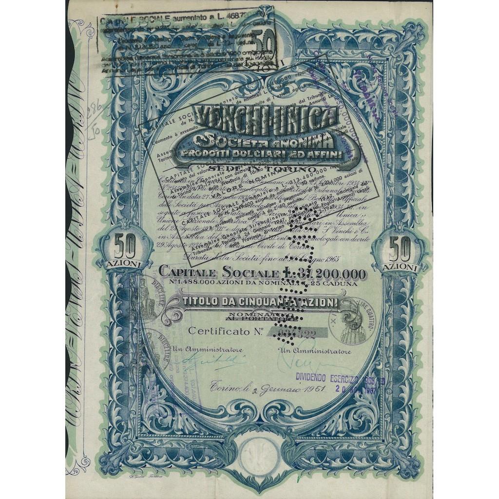 VENCHI UNICA SOC. ANON. PRODOTTI DOLCIARI ED AFFINI - 50 AZIONI 1947 TORINO