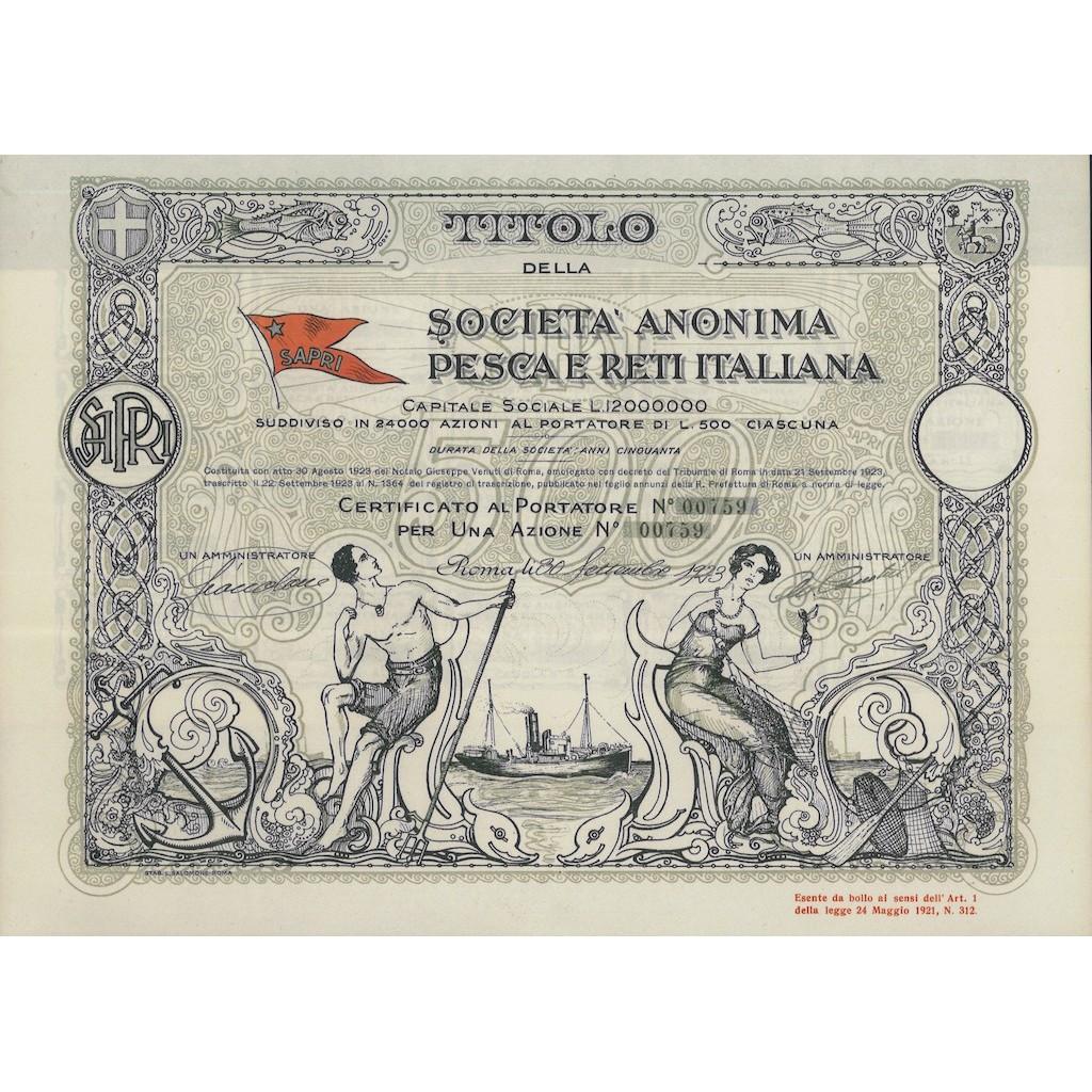 SOC. ANONIMA PESCA E RETI ITALIANA - 1 AZIONE ROMA 1923