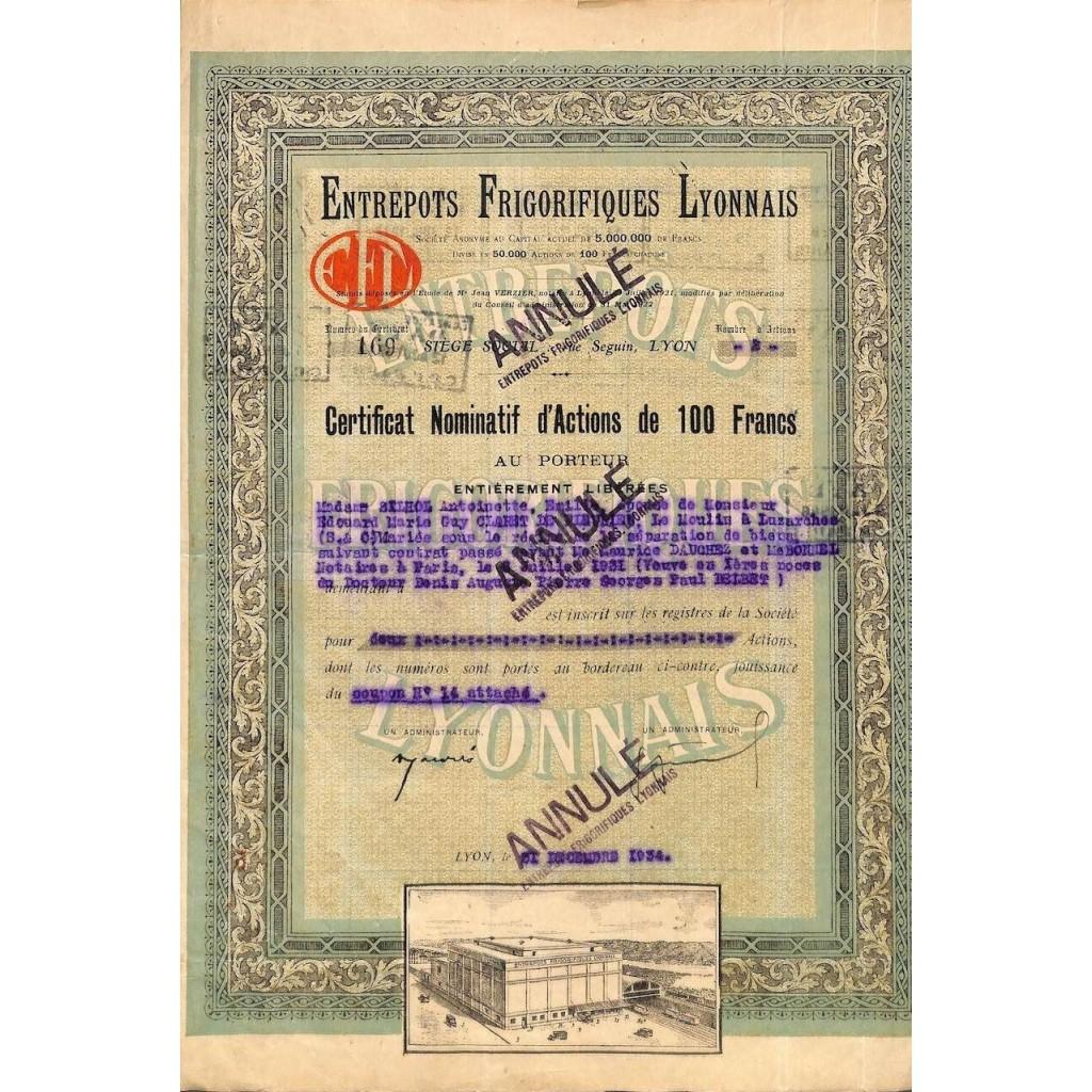 1934 - ENTREPOTS FRIGORIFIQUES LYONNAIS