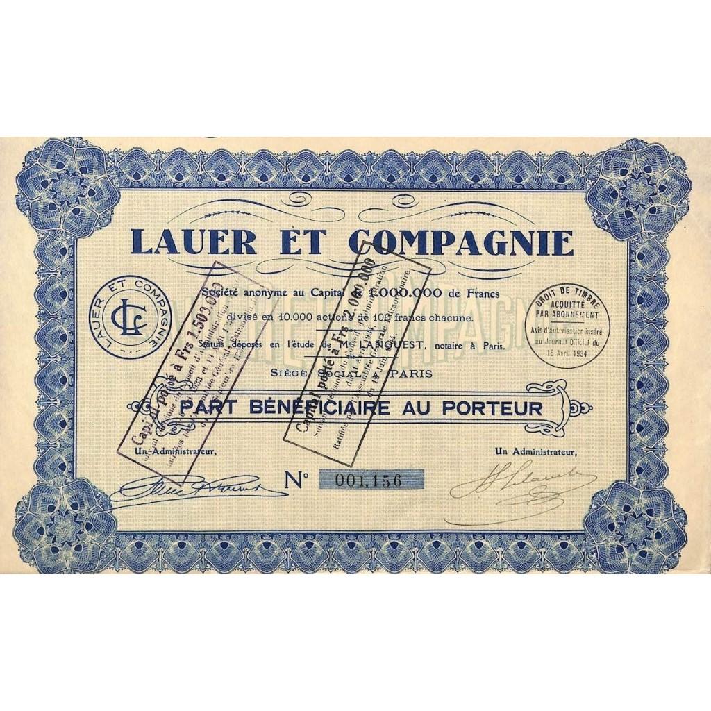 1934 - LAUER ET COMPAGNIE