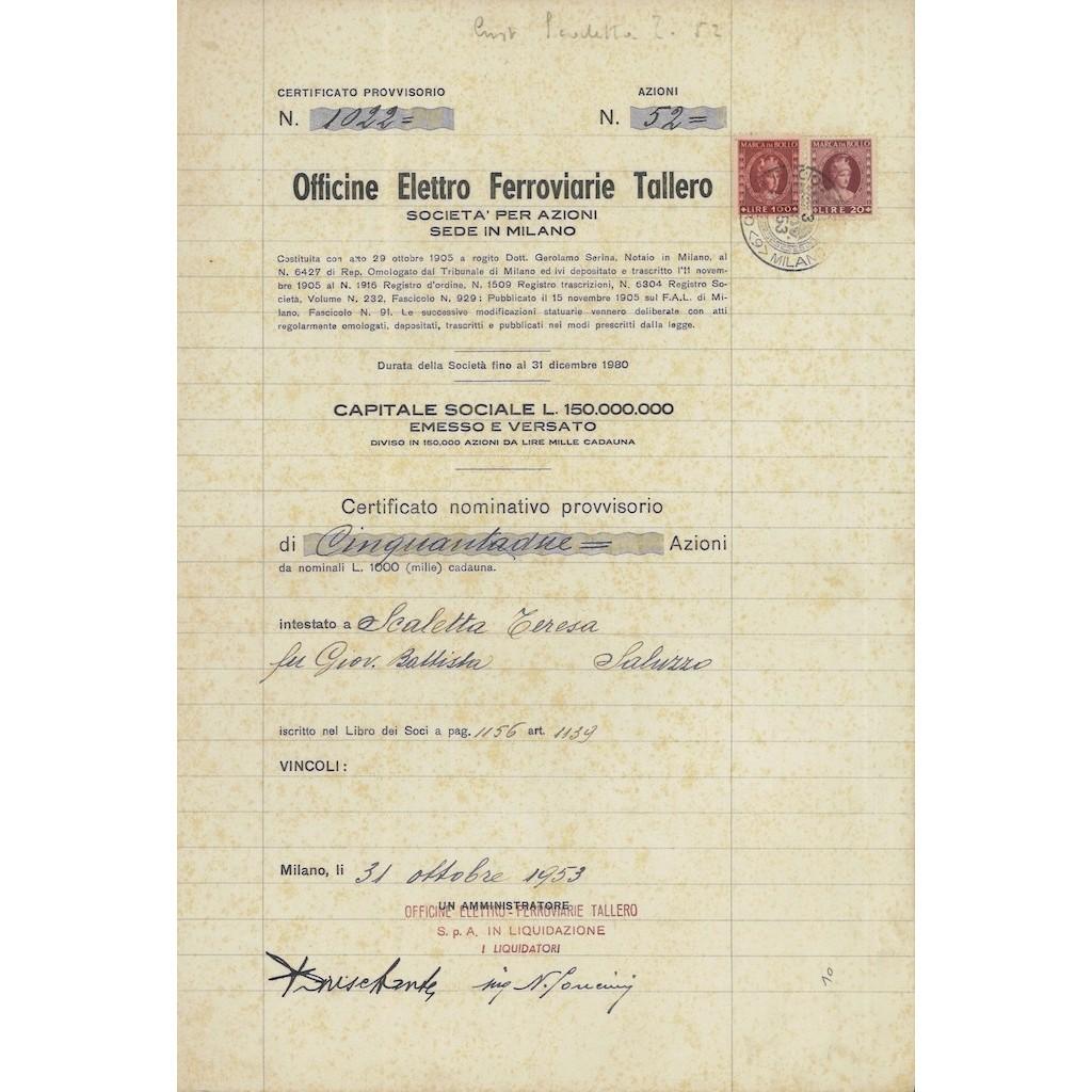 OFFICINE ELETTRO FERROVIARIE TALLERO - 52 AZIONI MILANO 1953