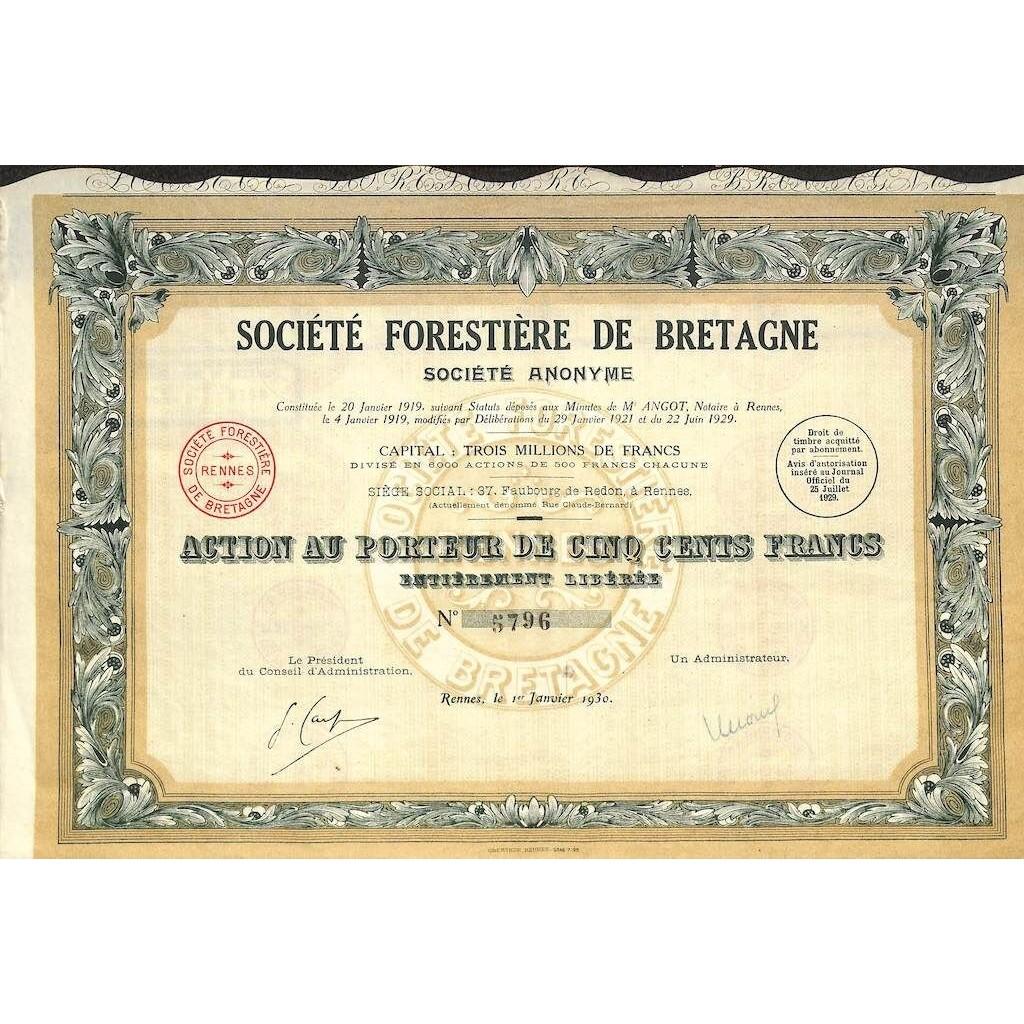 1930 - FORESTIERE DE BRETAGNE SOC.