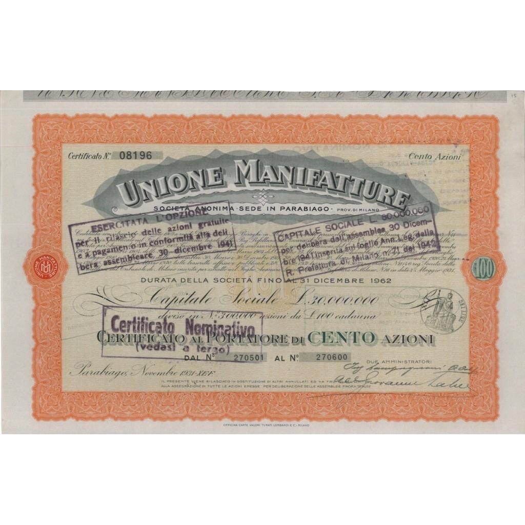 UNIONE MANIFATTURE SOC. ANONIMA - 100 AZIONI PARABIAGO 1931