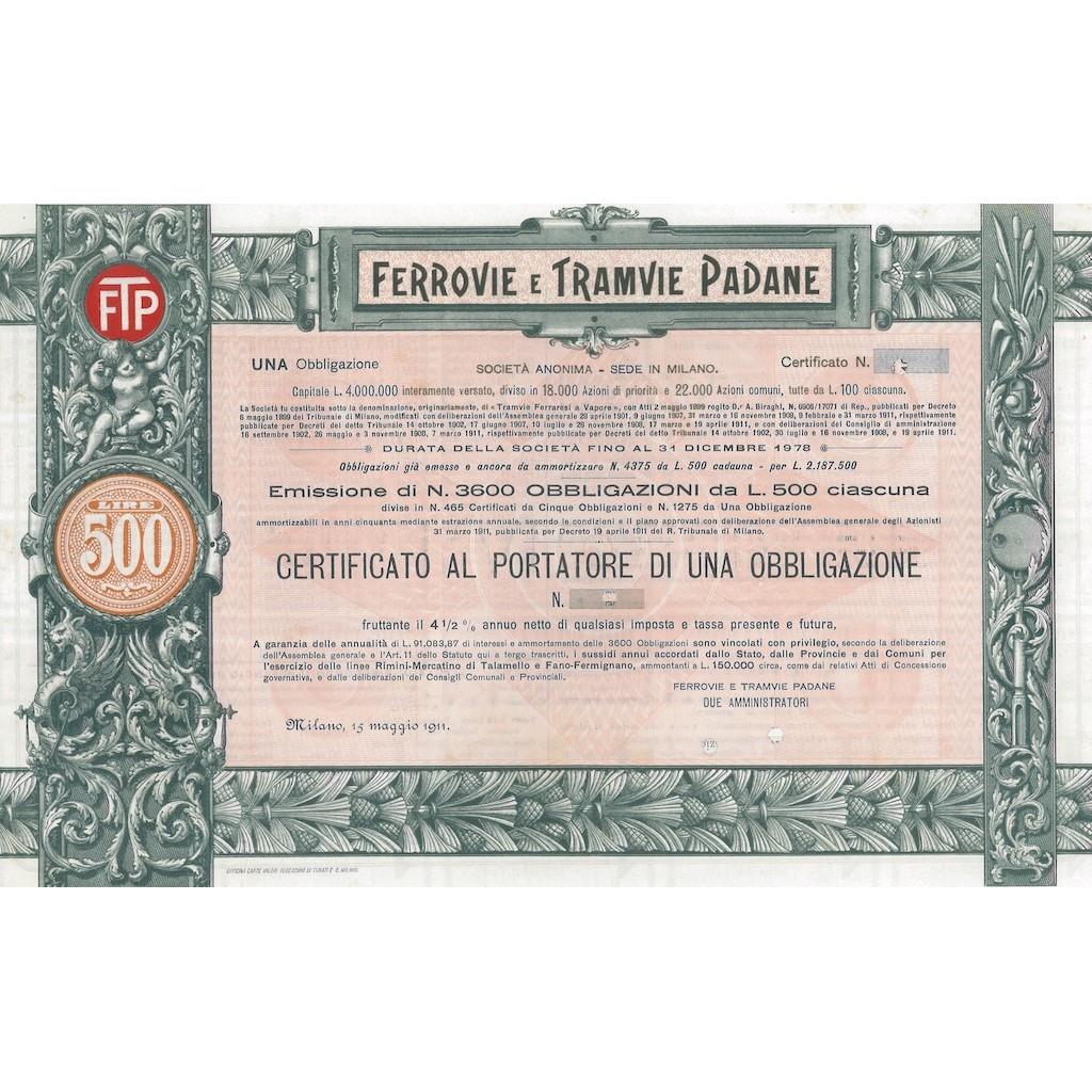 FERROVIE E TRAMVIE PADANE - UNA OBBLIGAZIONE MILANO 1911