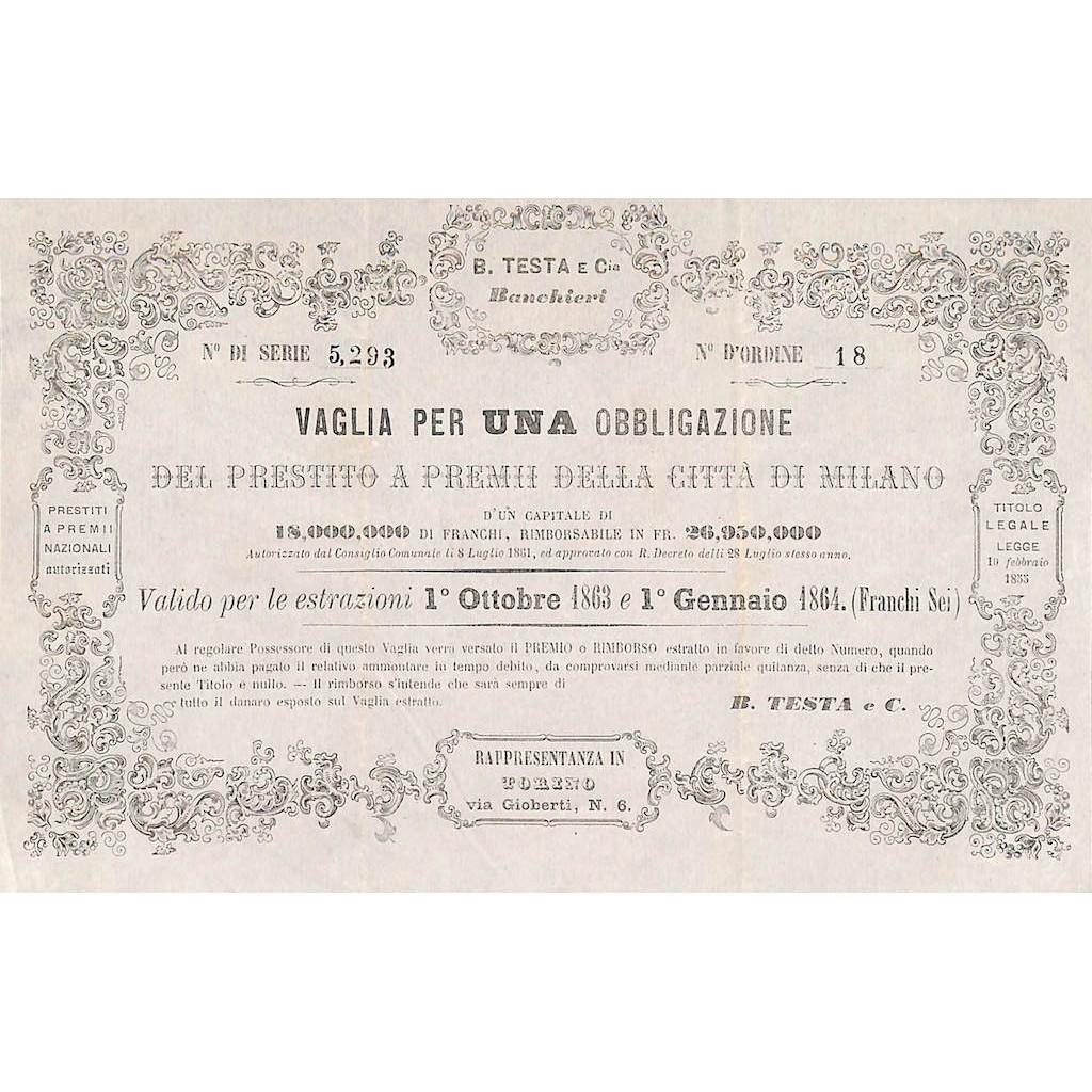 PRESTITO A PREMI DELLA CITTA' DI MILANO - 1 OBBLIGAZIONE TORINO 1861