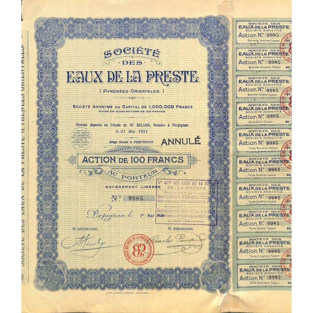 1930 - EAUX DE LA PRESTE SOC. DES