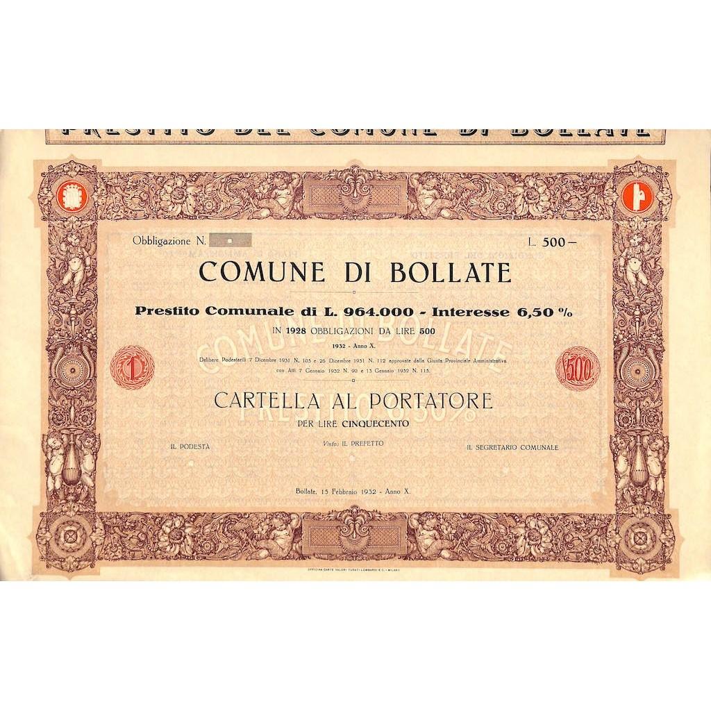 COMUNE DI BOLLATE - 1 CARTELLA AL PORTATRORE - BOLLATE 1932