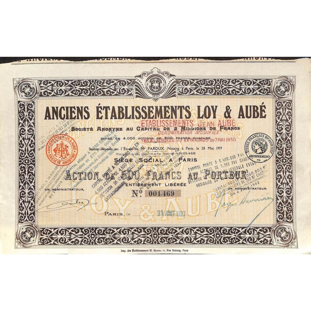 1927 - ANCIENS ETABLISSEMENTS LOY ET...