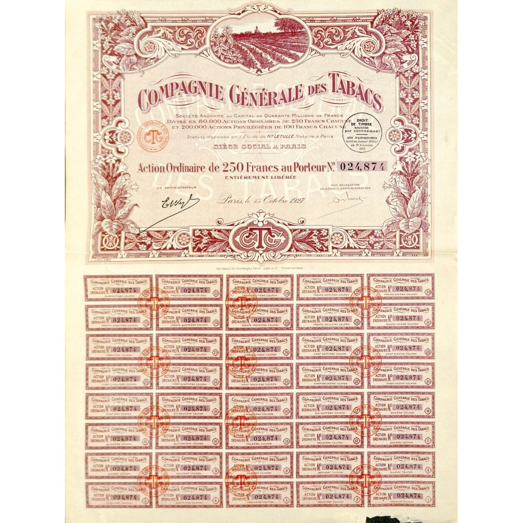 1927 - COMPAGNIE GENERALE DES TABACS