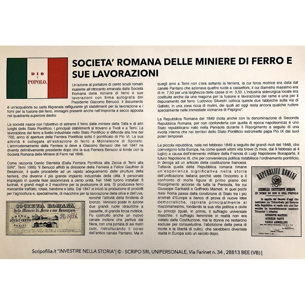 Prezzo Del Ferro Vecchio Oggi 1849 - romana delle miniere di ferro e sue lavorazioni soc. (firma di  armellini) roma