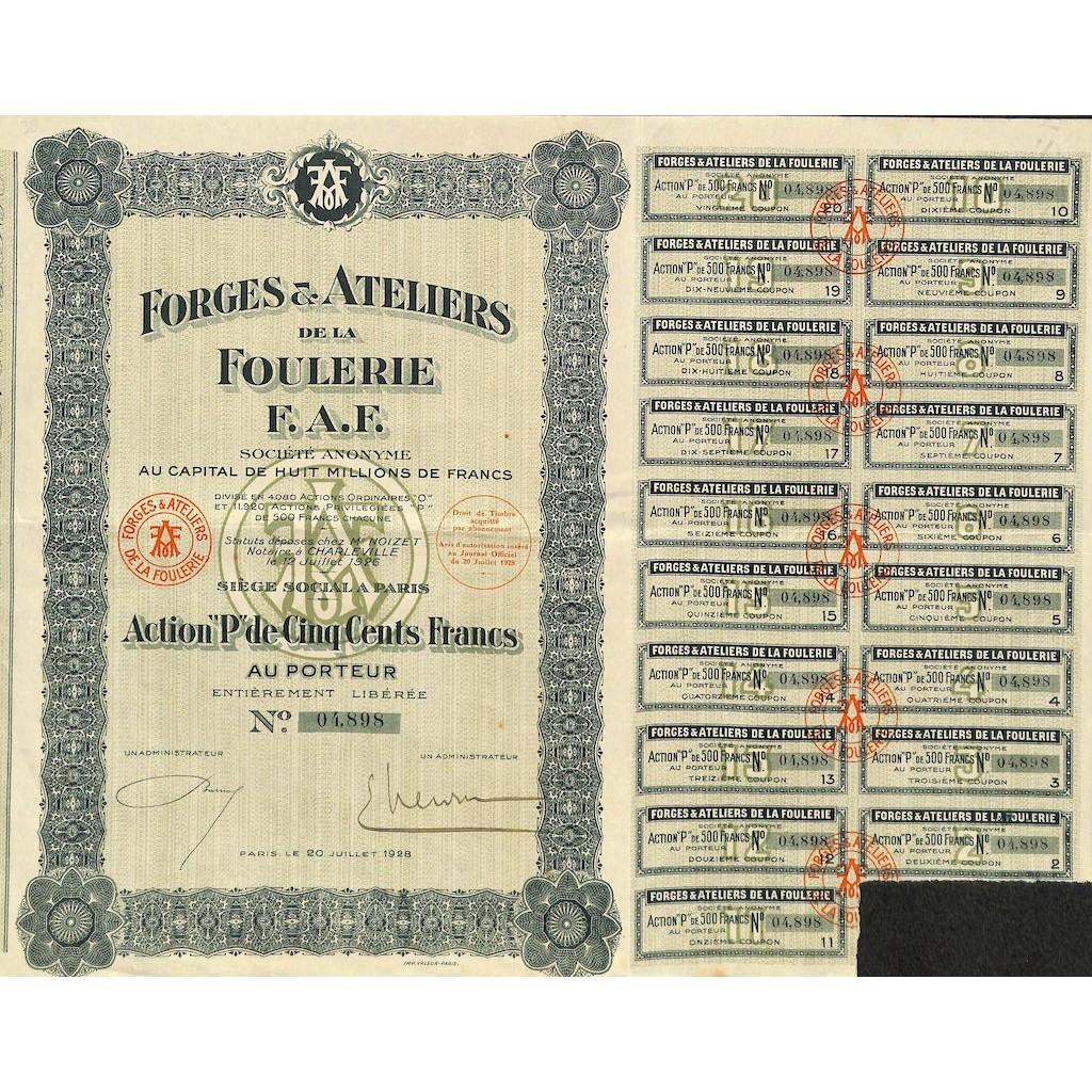 1928 - FORGES ET ATELIERS DE LA...