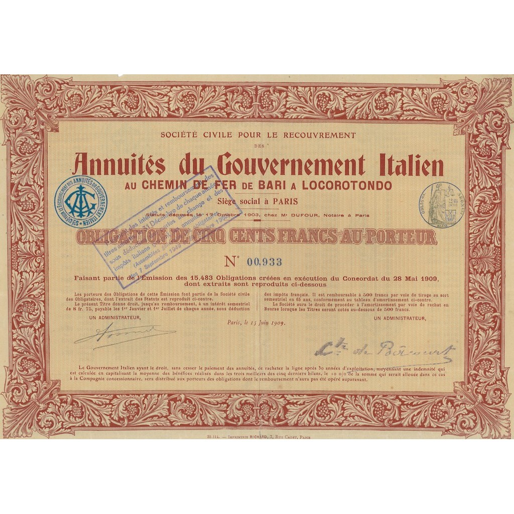 ANNUITES DU GOVERNEMENT ITALIEN AU CHEMIN DE FER DE BARI A LOCOROTONDO 1909