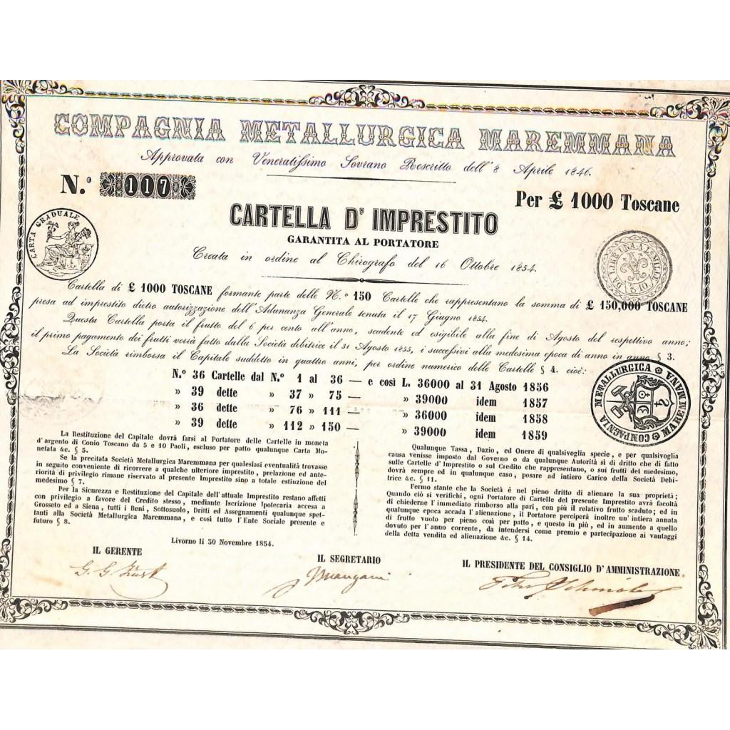 COMP. METALLURGICA MAREMMANA - CARTELLA DA 100 LIRE - LIVORNO 1854