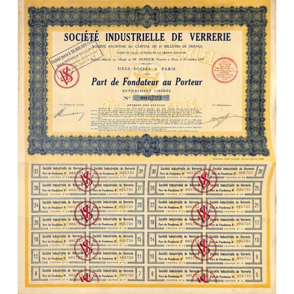 1930 - INDUSTRIELLE DE VERRERIE SOC.