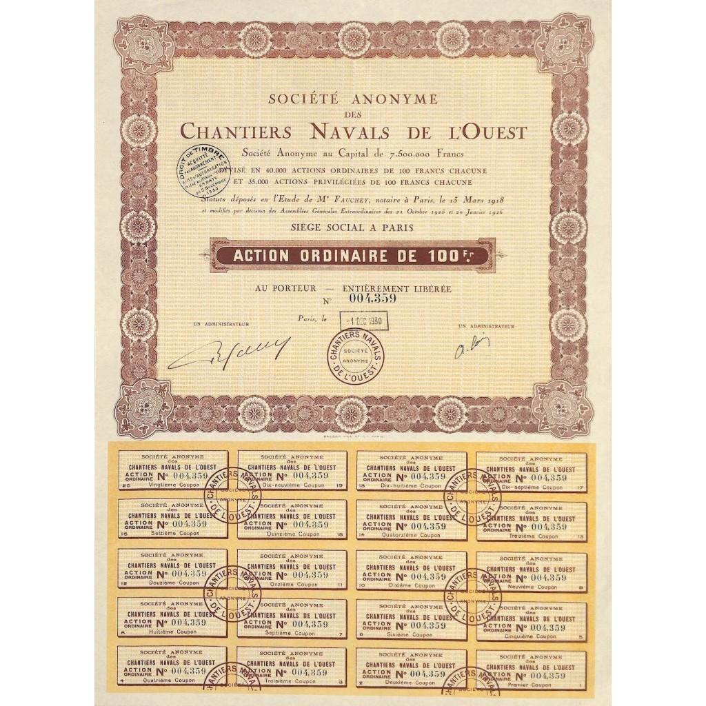 1930 - CHANTIERS NAVALS DE L'OUEST...