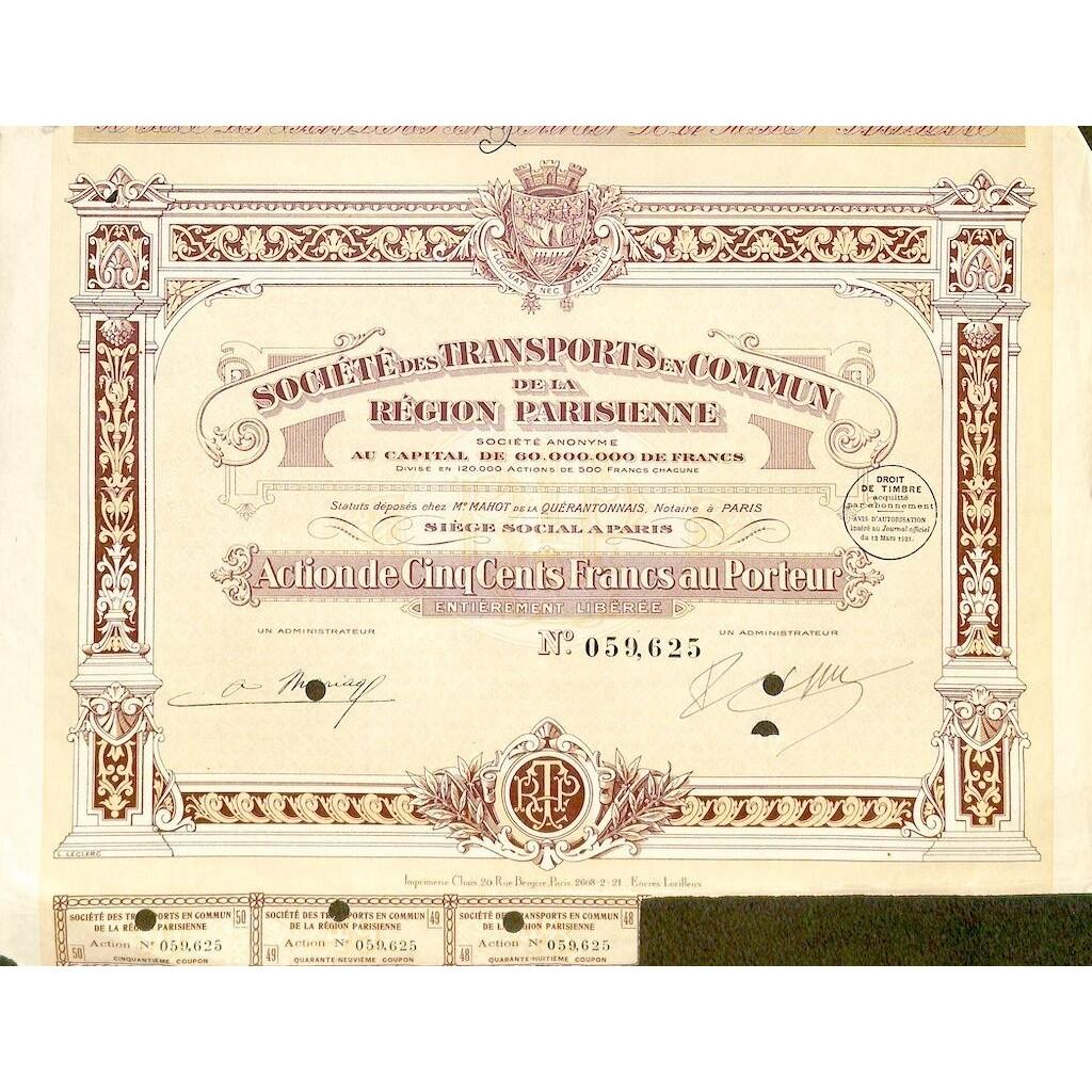 1921 - TRANSPORTS EN COMMUN DE LA...