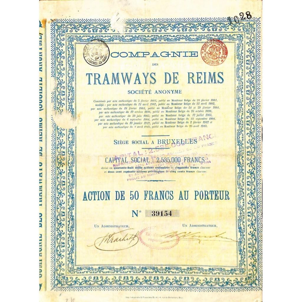1913 - TRAMWAYS DE REIMS COMPAGNIE DES