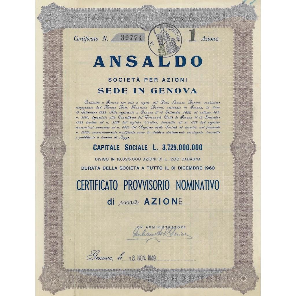 ANSALDO SOC. PER AZIONI - UNA AZIONE GENOVA 1949