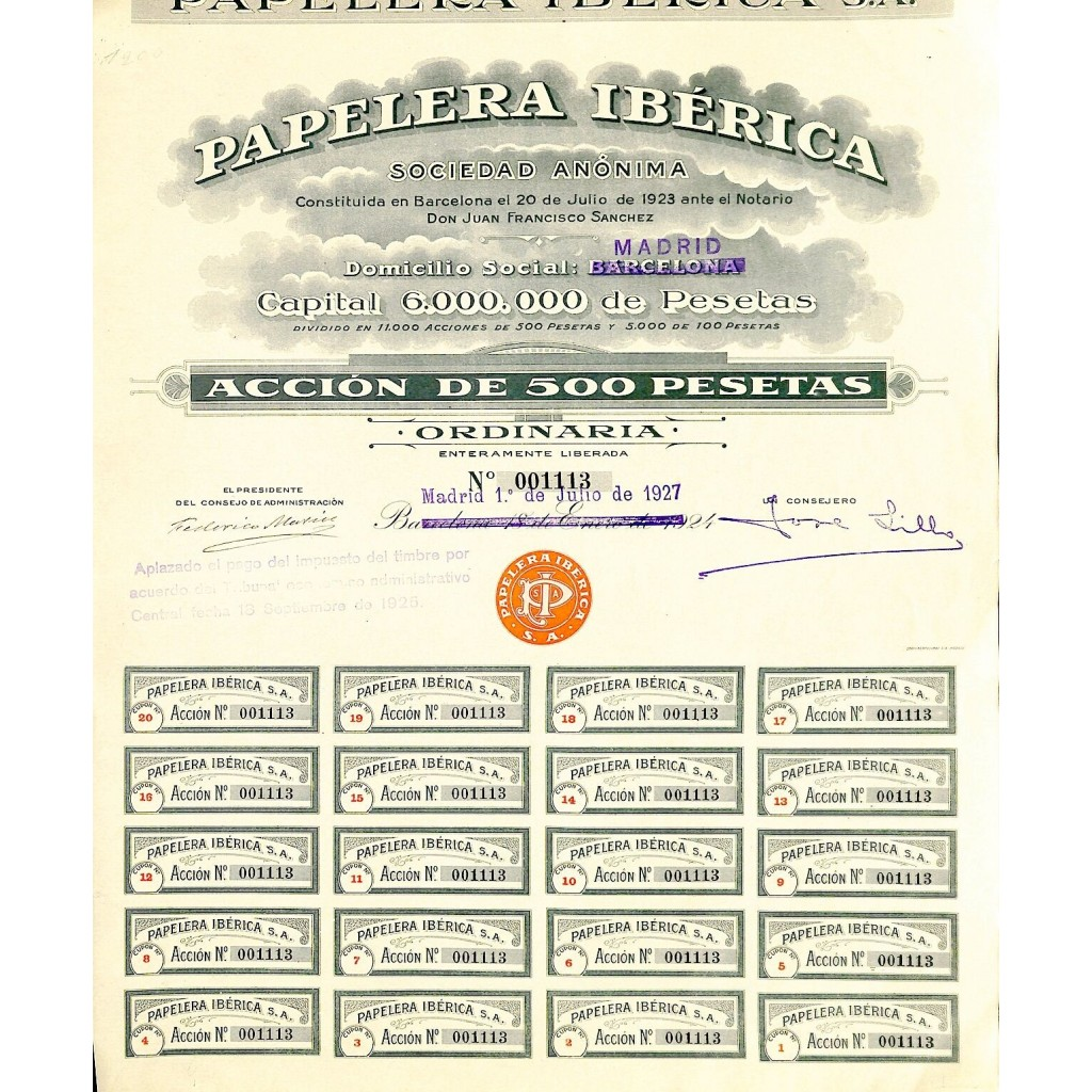 1927 - PAPELERA IBERICA SOC. ANON.