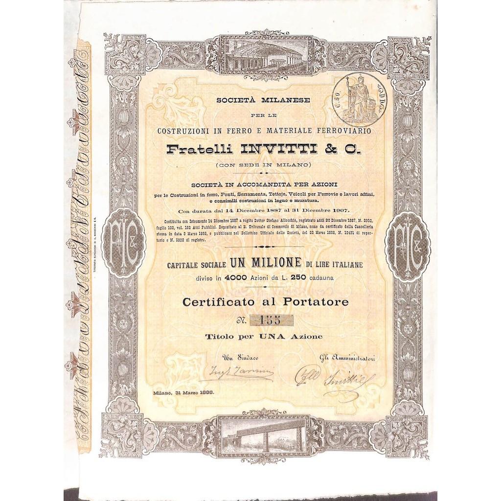 FRATELLI INVITTI & C. - UNA AZIONE MILANO 1888