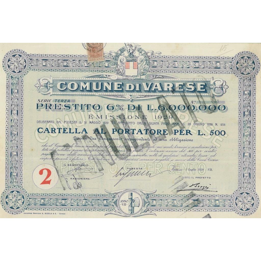 COMUNE DI VARESE SERIE TERZA ANNO VII 1 OBBLIGAZIONE VARESE 1929