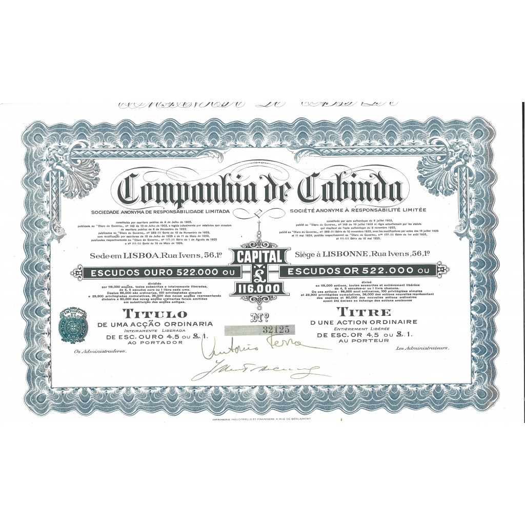1929 - CABINDA COMP. DE
