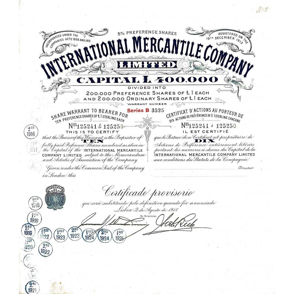 1915 - INTERNATIONAL MERCANTILE COMPANY