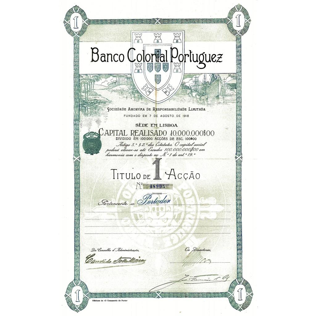 1918 - BANCO COLONIAL PORTUGUEZ (CAP....