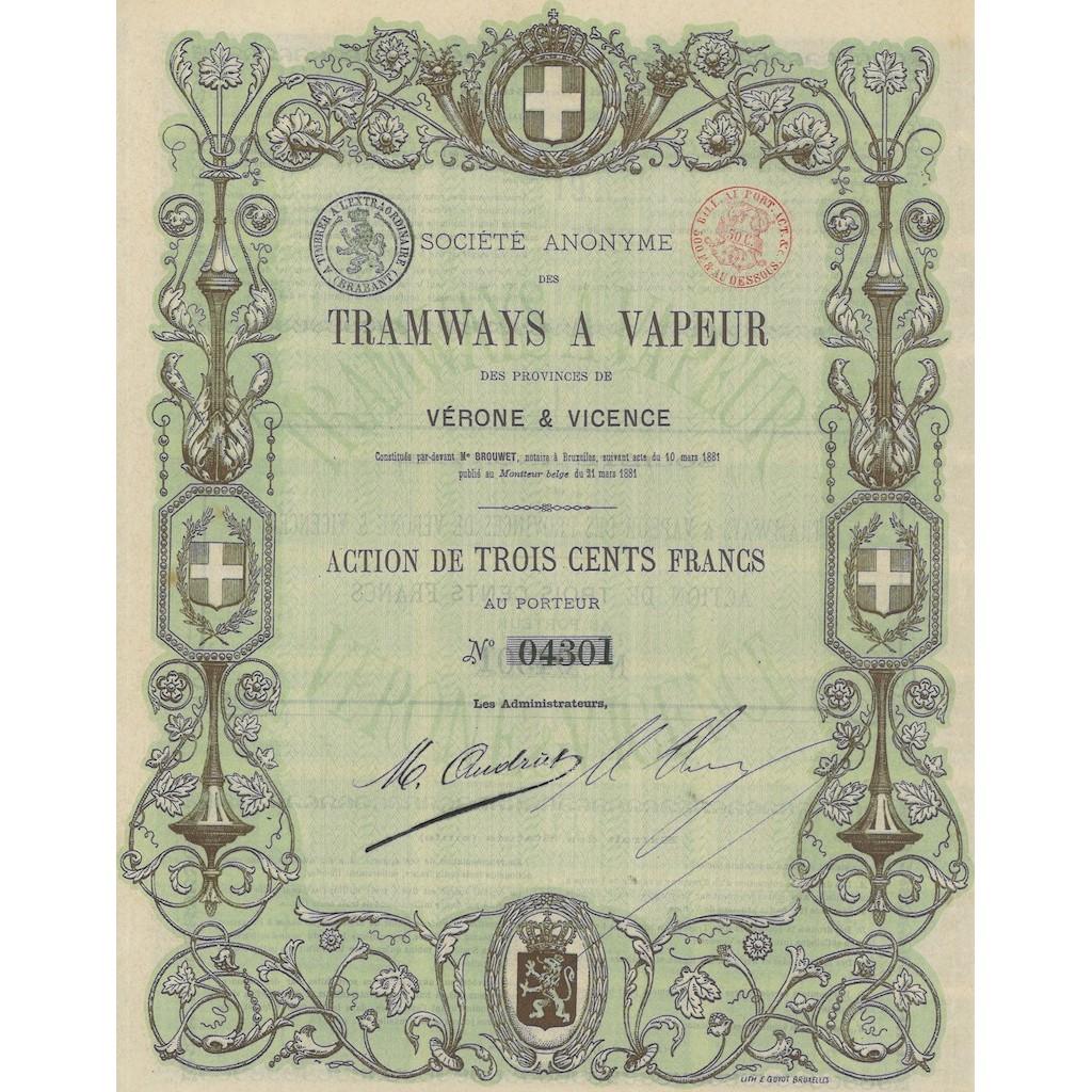 SOC. ANON DES TRAMWAYS A VAPEUR DES PROVINCES DE VERONE...1 AZIONE 1881
