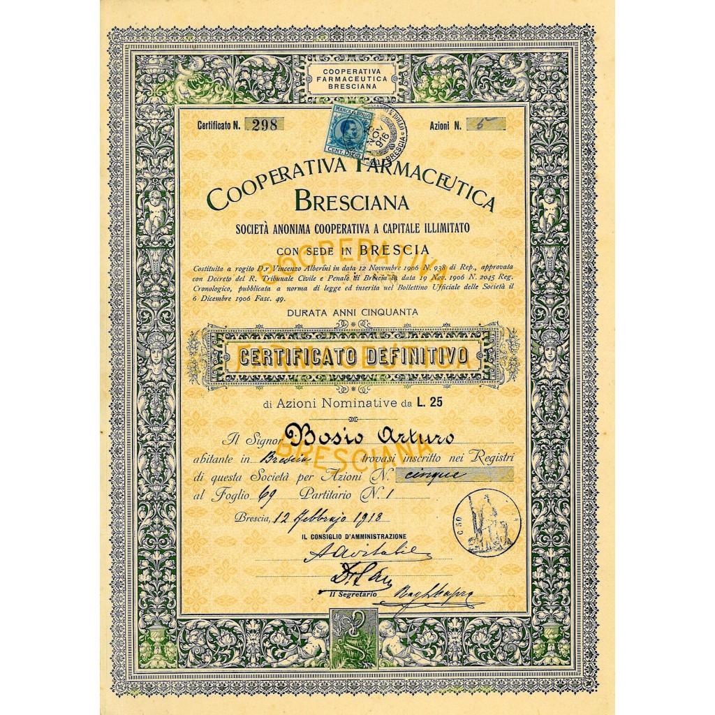 1918 - FARMACEUTICA BRESCIANA COOP.