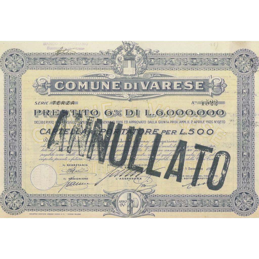 COMUNE DI VARESE SERIE TERZA 10 OBBLIGAZIONI VARESE 1926