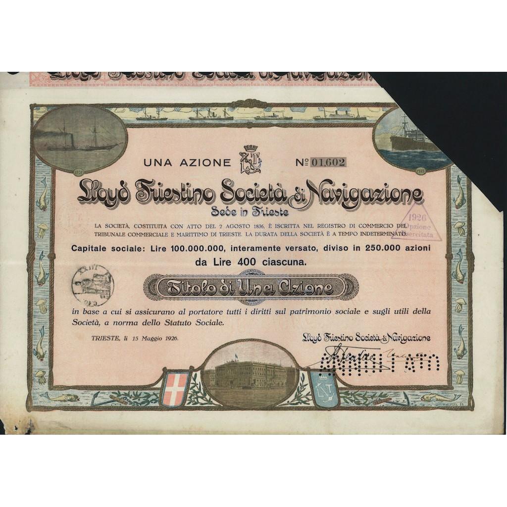 LLOYD TRIESTINO SOCIETA' DI NAVIGAZIONE - 1 AZIONE TRIESTE 1926
