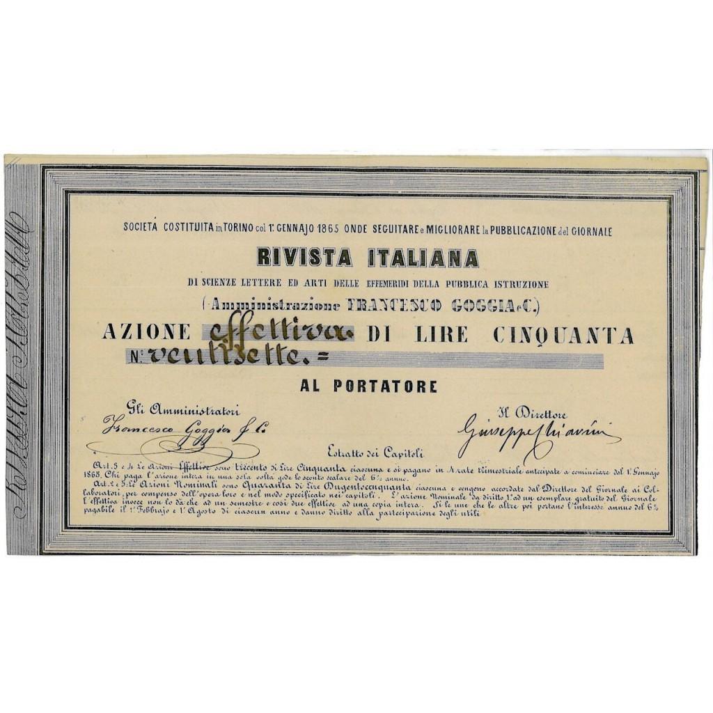 1865 - RIVISTA ITALIANA DI SCIENZE...