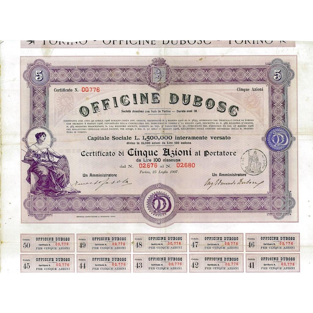 1907 - OFFICINE DUBOSC (5 AZIONI)