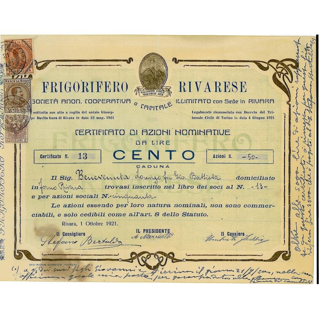 1921 - FRIGORIFERO RIVARESE