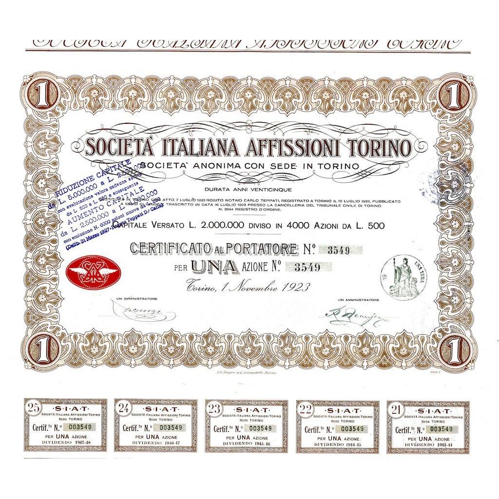 1923 - ITALIANA AFFISSIONI TORINO SOC.