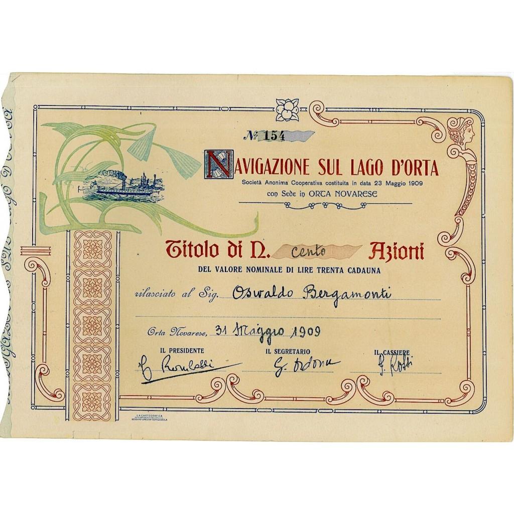 1909 - NAVIGAZIONE SUL LAGO D'ORTA