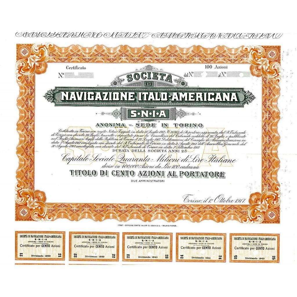 1917 - S.N.I.A. - SOC. DI NAVIGAZIONE...