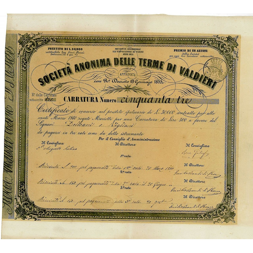 1860 - TERME DI VALDIERI SOC. ANON....