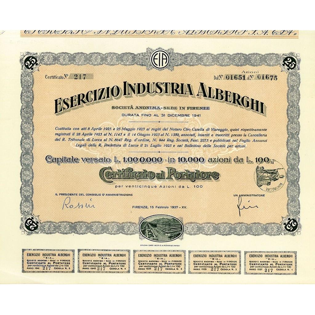 1937 - ESERCIZIO INDUSTRIA ALBERGHI...