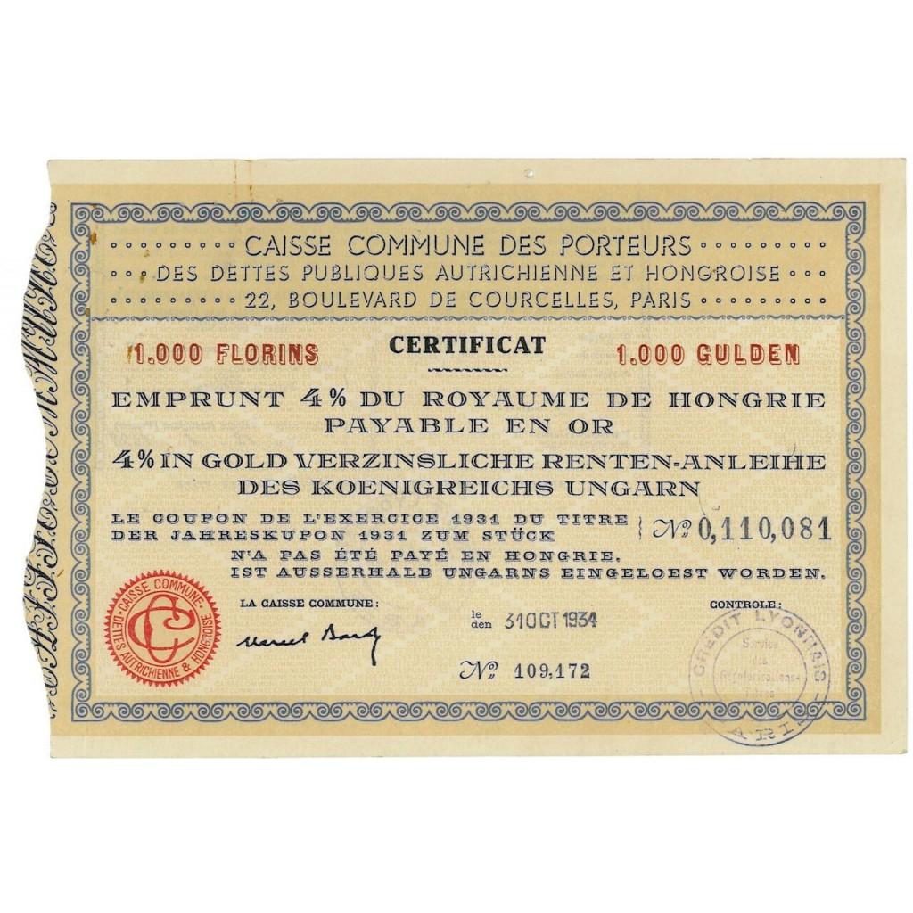 1934 - CAISSE COMMUNE DES PORTEURS...