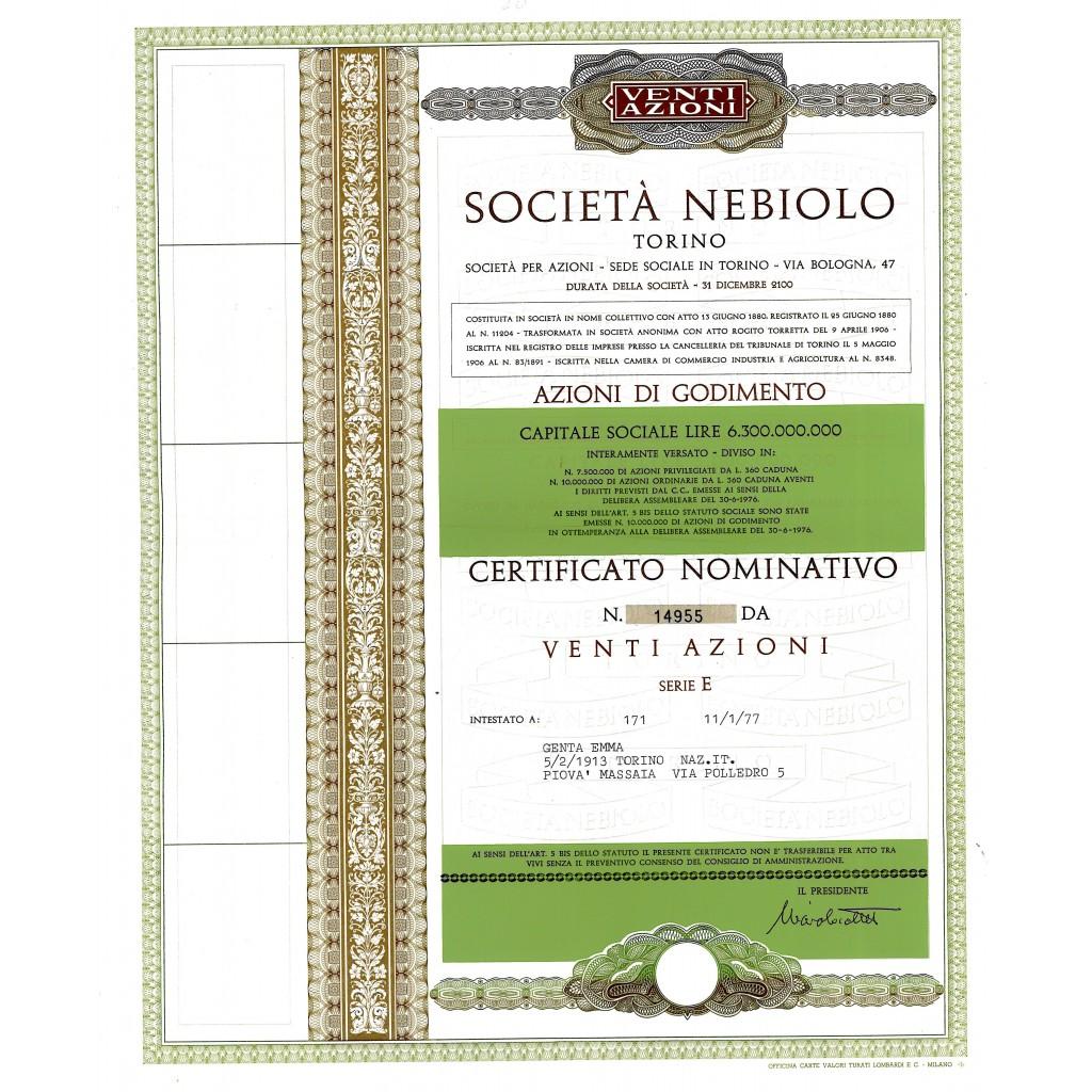 1977 - NEBIOLO SOC. - TORINO (20 AZIONI)