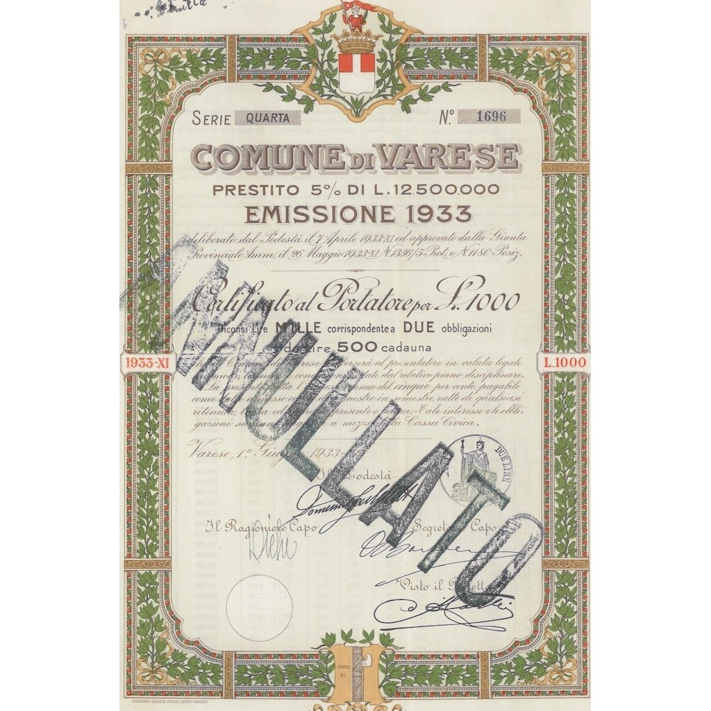 COMUNE DI VARESE SERIE QUARTA 2 OBBLIGAZIONI VARESE 1933