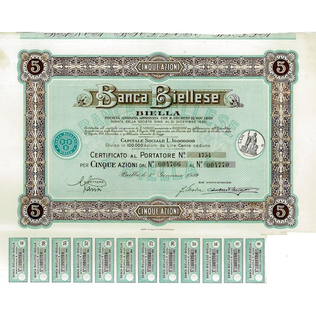 1919 - BANCA BIELLESE - BIELLA (5...