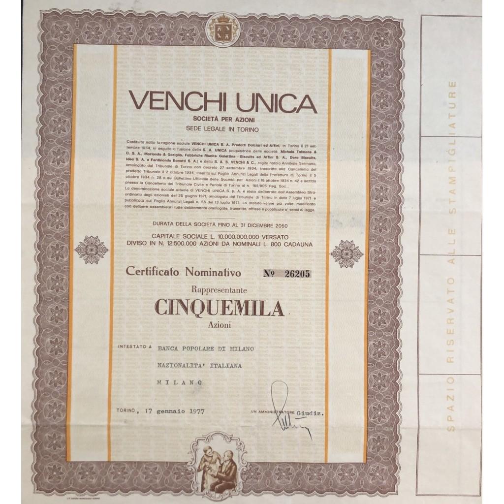 1977 - VENCHI UNICA - 5000 AZIONI -...