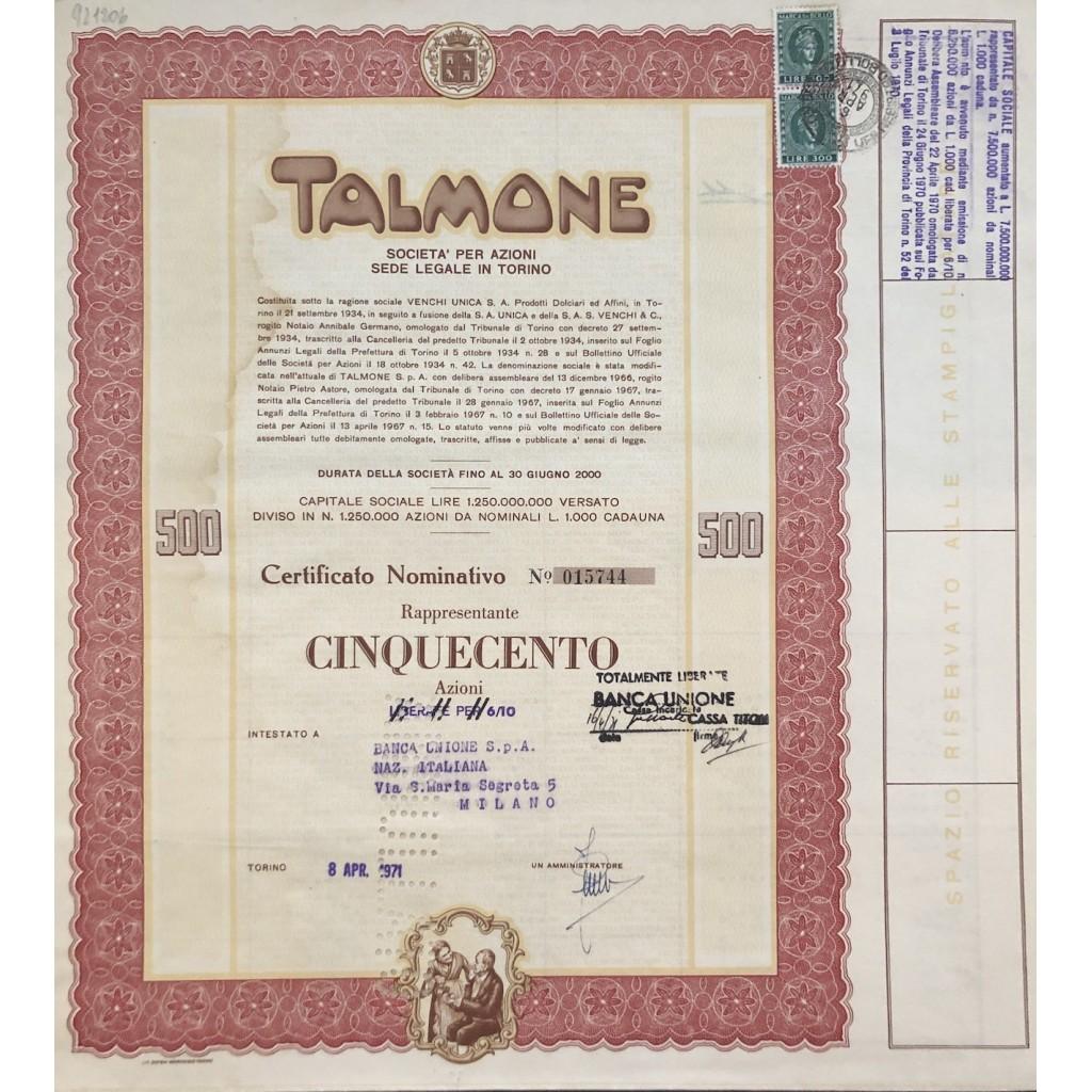1971 - TALMONE CERTIFICATO DA 500...